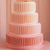 Peach and Pink Wedding Cake with Ribbons