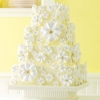 Yellow Wedding Cake with Meringue Flowers