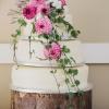 Wedding Cake with Zinnias