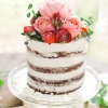 Unfrosted Wedding Cake with Fresh Roses