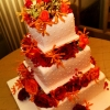 Square Wedding Cake with Fresh Fall Flowers