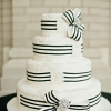 Black and White Ribbon Wedding Cake