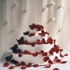 White Wedding Cake with Rose Petals