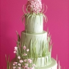 Spring Green Wedding Cake with Flowers