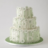 Green and White Floral Wedding Cake