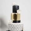 Modern Gold and Black Wedding Cake