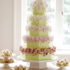 Green Wedding Cake with Sugar Flowers