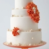 White Wedding Cake with Pearls and Flowers
