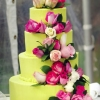 Green Wedding Cake with Floral Cascade