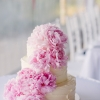 White Cake with Pink Peonies