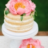 Naked Wedding Cake with Pink Peony
