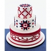 Red, White, and Blue Wedding Cake