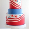 Patriotic Wedding Cake – Red, White, and Blue!