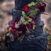 Black Wedding Cake with Fall Flowers