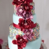 Blue and Red Wedding Cake