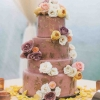 Purple Wedding Cake with Flowers