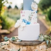 Blue and White Cake with Flowers
