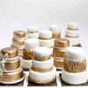Miniature Gold and White Wedding Cakes