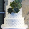 White Wedding Cake with Chevron Designs