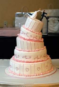 Leaning Pink and White Wedding Cake