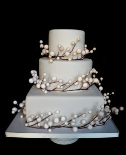 Pearlized Snow Berry Fake  Wedding Cake