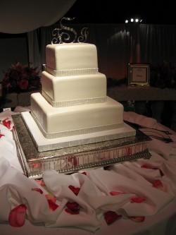 Rhinestone trimmed cake