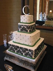 Black and Green Damask