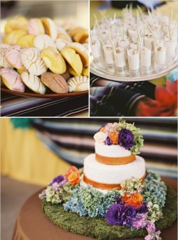 Multi color wedding cake and sweets