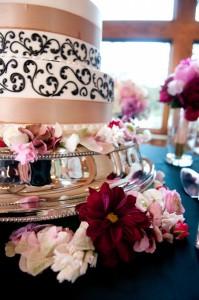 Champagne Ribbon Wedding Cake