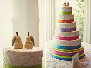 Neon trimmed wedding cake