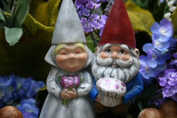 Bride And Groom Gnome Cake Toppers