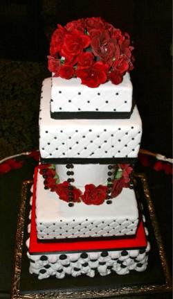 Black, red and white wedding cake