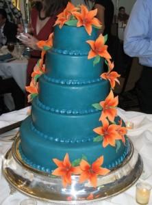 Blue and Orange Lily Cake