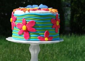 Bright floral fondant cake