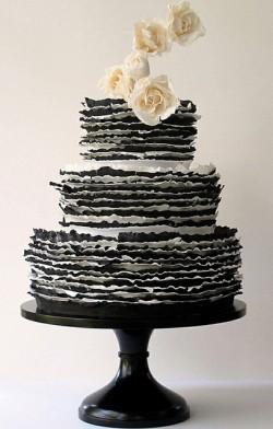 Black and White ruffle wedding cake