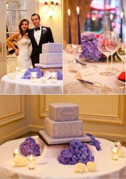 Paris Purple wedding cake