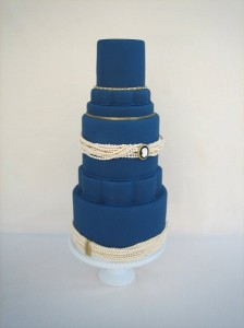 Navy blue and pearl wedding cake