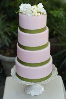 Pink and Sage Wedding Cake