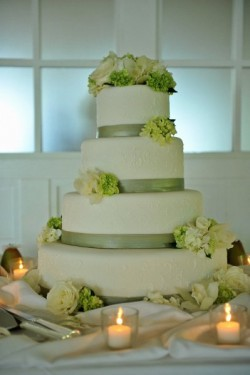 Sage and White Wedding Cake