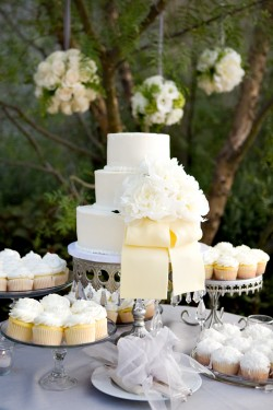 White wedding cake with cream ribbon