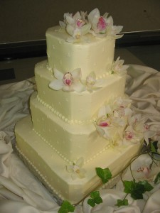 Ivory Orchid Cutaway Cake
