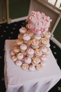 Pink Flower Cupcake Tower 1