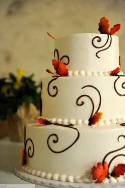 Autumn Leaves and Chocolate Swirls Wedding Cake