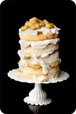 Naked bananas foster wedding cake
