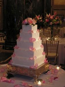 Pink Rose Petal Wedding Cake