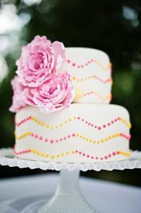 Pink and Yellow Chevron Wedding Cake