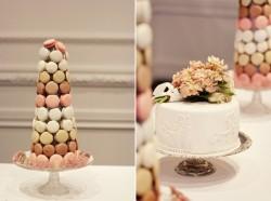 macaron tower and white wedding cake