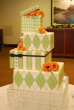 Green Stacked Box Wedding Cake