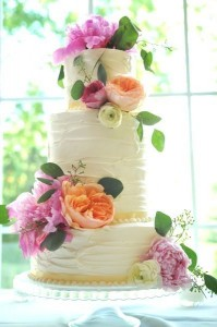 Pink and Orange Peony Cake