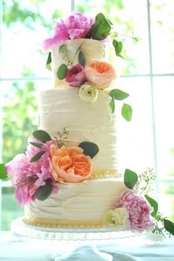 Pink and Orange Peony Cake